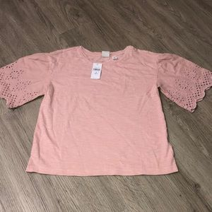 Girls Cotton blouse with eyelet sleeves. NWOT.